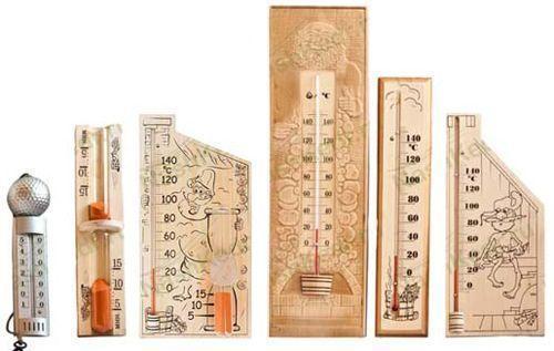 Термометры и песочные часы, используемые в банях