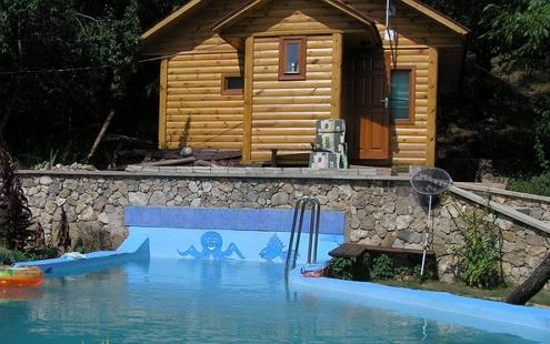 Баня с бассейном на улице