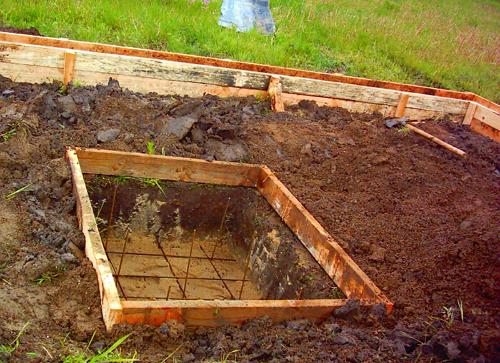 Опалубка подготовленная к заливке фундамента