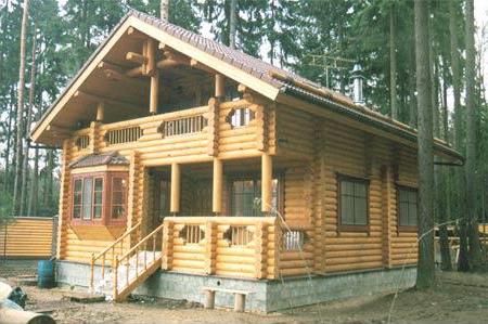 Гостевой дом-баня из оцилиндрованного бревна