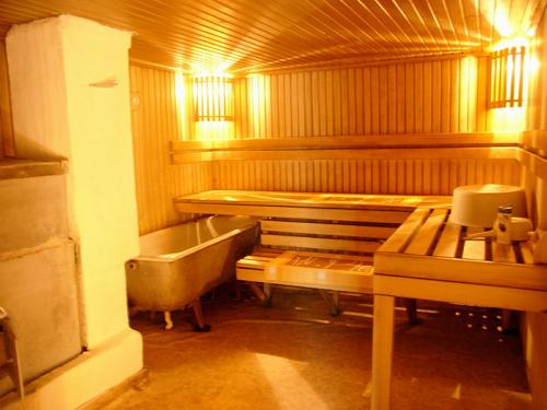 Печь в бане с полками и ванной