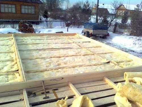 Теплоизоляция первого венца с использованием минеральной ваты