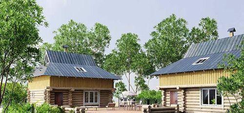 Дом и баня, построенные в едином стилевом решении