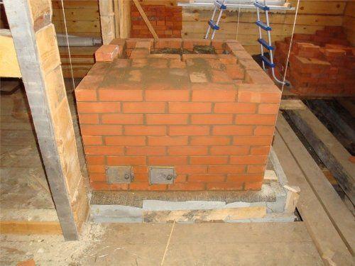 Фундамент под кирпичную печь с уже сложенной основной частью