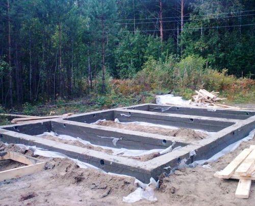Ленточный фундамент для бани на три помещения