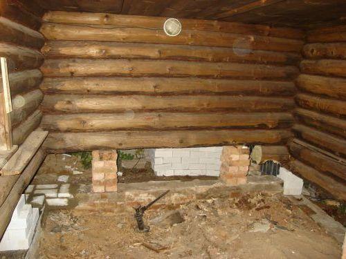 Частичный ремонт фундамента в бане
