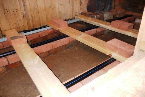 Строительство деревянного пола для бани