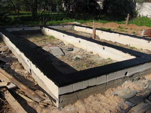 Готовый к возведению строения ленточный фундамент