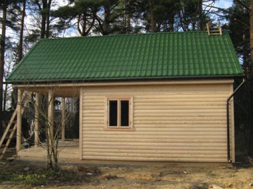 Крыша в бане из профнастила