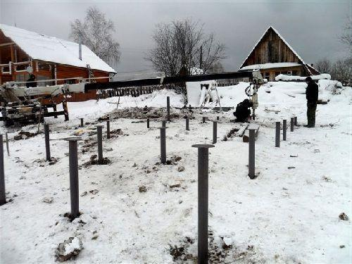 Подготовка столбчатого фундамента для бани