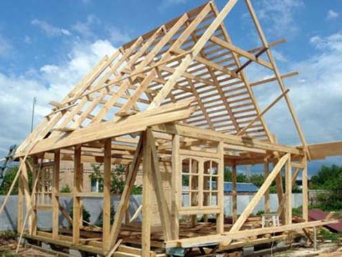 Каркас для будущей деревянной бани