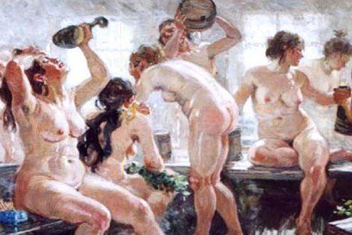 Люди в старину любили посещать Ржевские бани, впрочем, как и сейчас